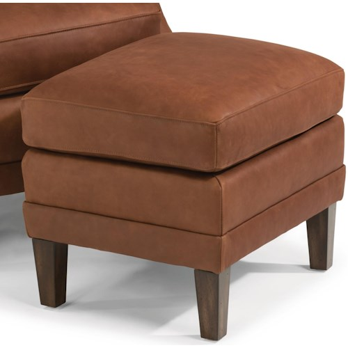Flexsteel Latitudes-Max Contemporary Leather Ottoman with Tall, Tapered Legs