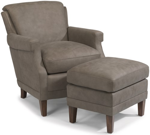 Flexsteel Latitudes-Max Contemporary Leather Chair and Ottoman Set with Tall, Tapered Legs