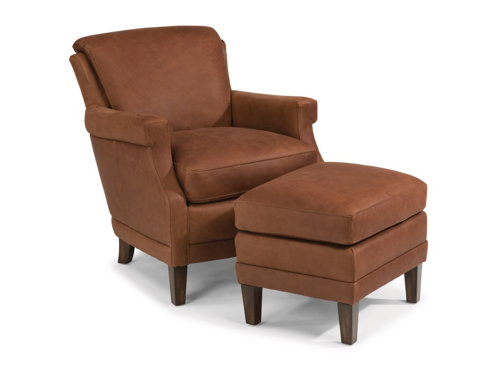 Flexsteel Latitudes-MaxLeather Chair and Ottoman Set