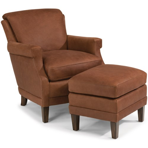 Flexsteel Laudes Max Contemporary Leather Chair And Ottoman Set With Tall Tapered Legs