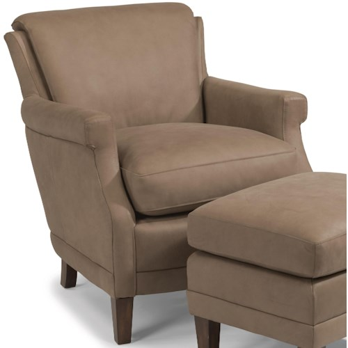 Flexsteel Latitudes-Max Contemporary Leather Chair with Tall, Tapered Legs