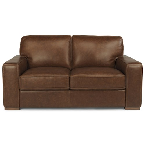 Flexsteel Latitudes-Mckinley Contemporary Leather Loveseat