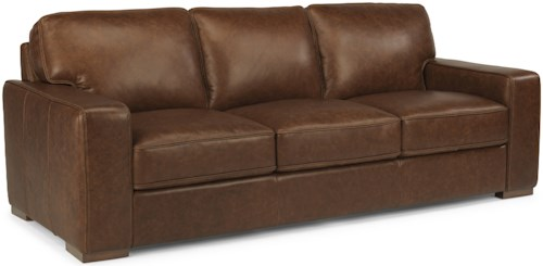 Flexsteel Latitudes-Mckinley Contemporary Leather Sofa
