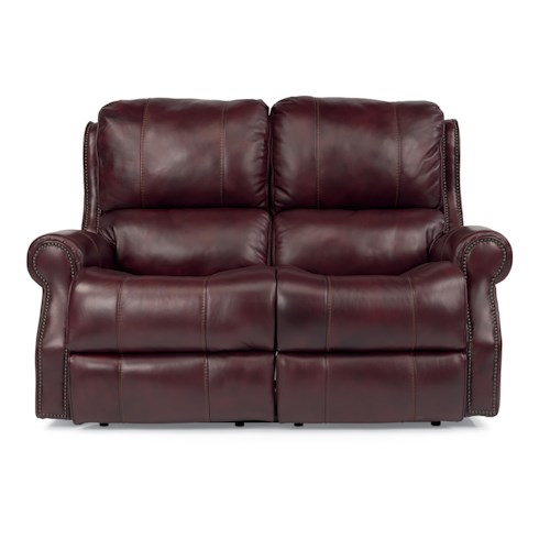 Flexsteel Latitudes-Miles Traditional Power Reclining Loveseat with Rolled Arms and Nailheads
