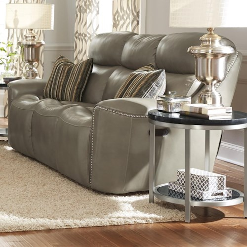 Flexsteel Latitudes-Mystic Power Reclining Sofa with Adjustable Headrest and USB Ports