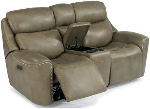 Flexsteel Latitudes-Mystic Power Reclining Loveseat with Cupholder Console and Adjustable Headrests
