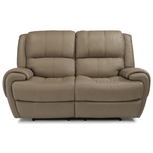 Flexsteel Latitudes-Nance Casual Power Reclining Loveseat with Power Headrests and USB Ports