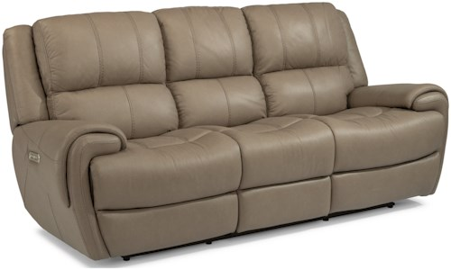 Flexsteel Laudes Nance Casual Reclining Sofa With Headrests And Usb Ports