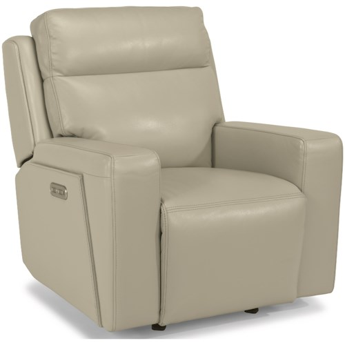 Flexsteel Latitudes-Niko Contemporary Power Gliding Recliner with Power Headrest and USB Port