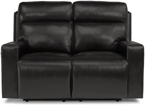 Flexsteel Latitudes-Niko Contemporary Power Reclining Loveseat with Power Headrests and USB Ports