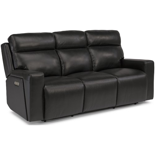 Flexsteel Latitudes-Niko Contemporary Power Reclining Sofa with Power Headrests and USB Ports