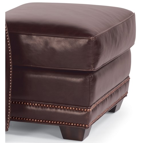 Flexsteel Latitudes-Raleigh Leather Ottoman with Nailhead Trim