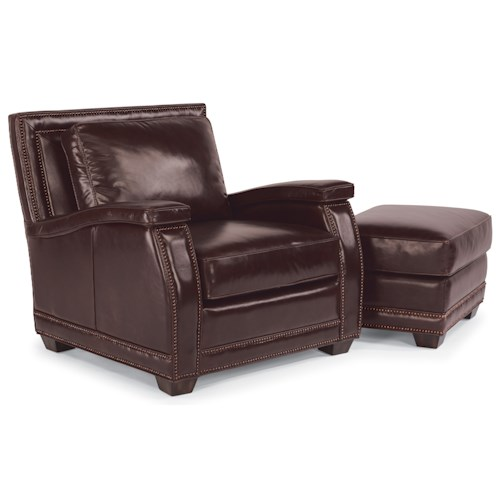 Flexsteel Latitudes-Raleigh Leather Chair and Ottoman with Nailhead Trim
