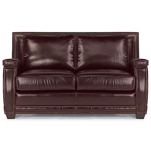 Flexsteel Latitudes-Raleigh Leather Loveseat with Nailhead Trim