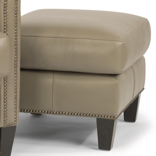 Flexsteel Latitudes-Reuben Transitional Ottoman with Nailheads