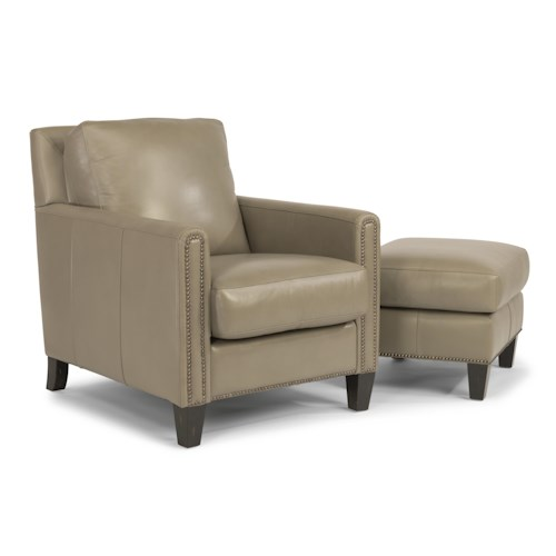 Flexsteel Latitudes-Reuben Transitional Chair and Ottoman Set with Nailheads