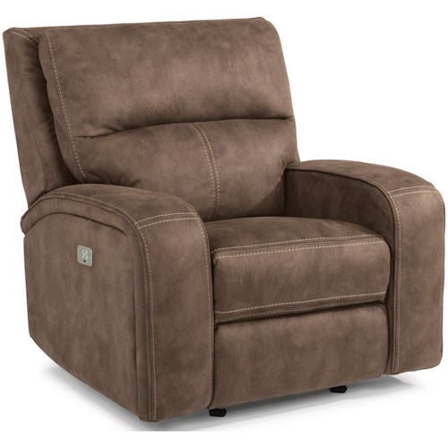 Flexsteel Latitudes-Rhapsody Contemporary Power Gliding Recliner with Power Headrest and USB Port