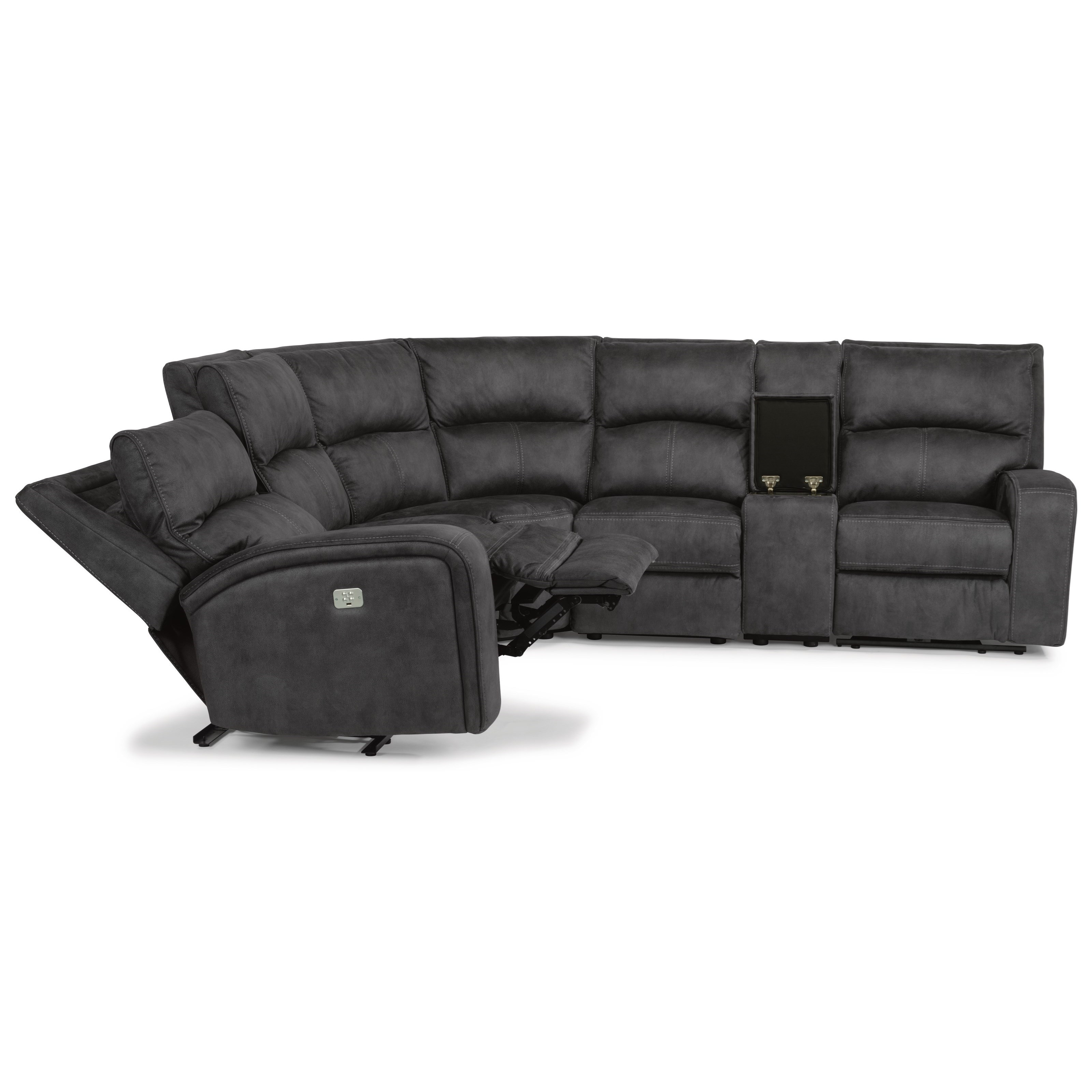 Contemporary Power Reclining 5 Seat Sectional with Power Headrests, USB Ports and Console