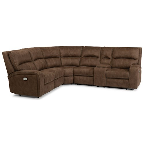 Flexsteel Latitudes-Rhapsody Contemporary Power Reclining 5 Seat Sectional with Power Headrests, USB Ports and Console