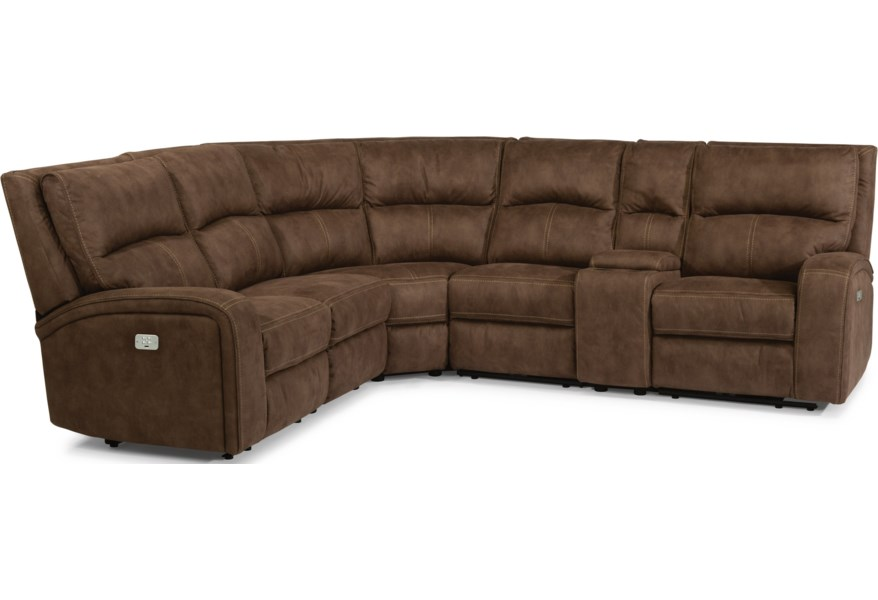 Latitudes-Rhapsody Contemporary Power Reclining 5 Seat Sectional with Power  Headrests, USB Ports and Console by Flexsteel at EFO Furniture Outlet
