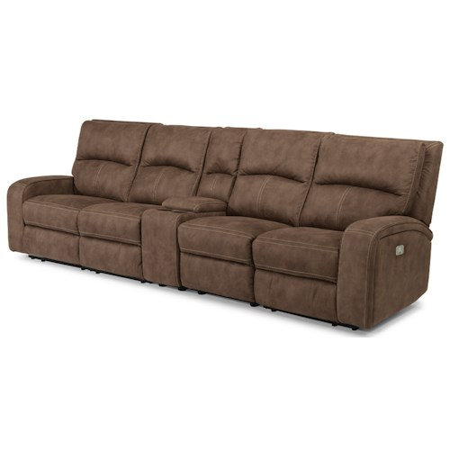 Flexsteel Latitudes-Rhapsody Contemporary Power Reclining Long Sectional with Power Headrests, Console & USB Ports