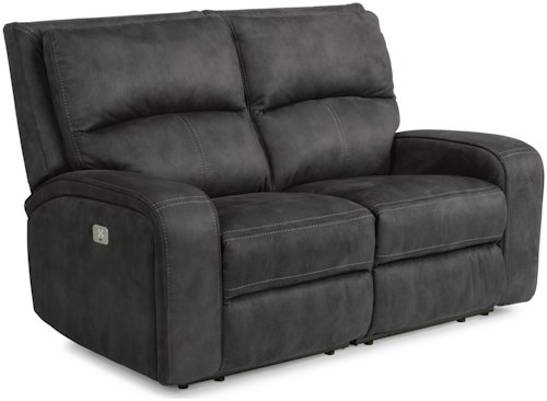 Flexsteel Latitudes-Rhapsody Contemporary Power Reclining Loveseat with Power Headrests and USB Ports