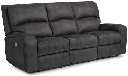 Flexsteel Latitudes-Rhapsody Contemporary Power Reclining Sofa with Power Headrests and USB Ports