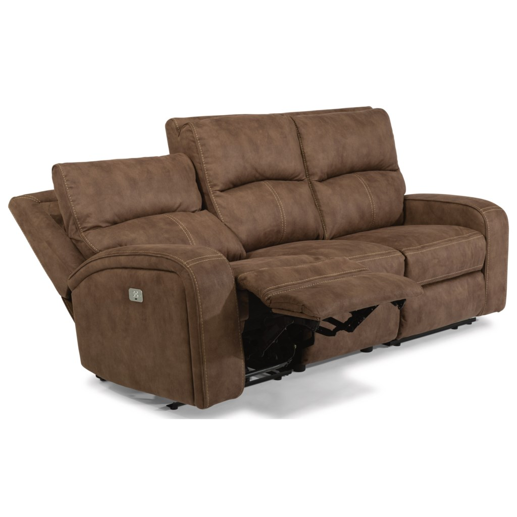 Flexsteel Latitudes Rhapsody 1150 62ph Contemporary Power  ~ Fabric Sectional Sofa With Power Recliner
