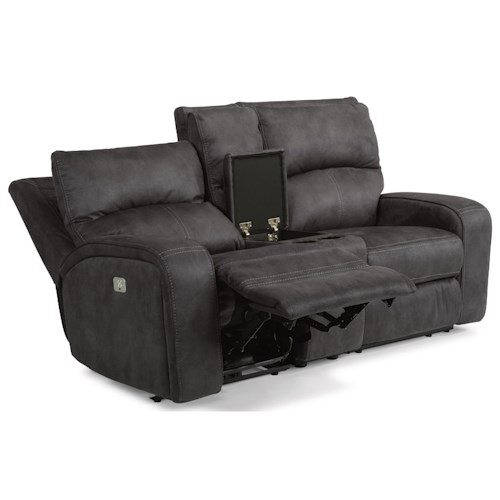 Flexsteel Latitudes-Rhapsody Contemporary Power Reclining Loveseat with Console, Cupholders and Power Headrests