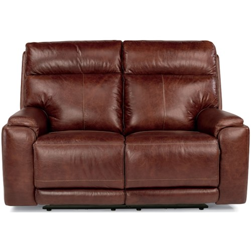 Flexsteel Latitudes-Sienna Power Reclining Love Seat with USB Ports and Adjustable Headrest