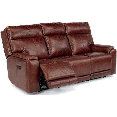 Flexsteel Latitudes-Sienna Power Reclining Sofa with Adjustable Headrests and USB Ports