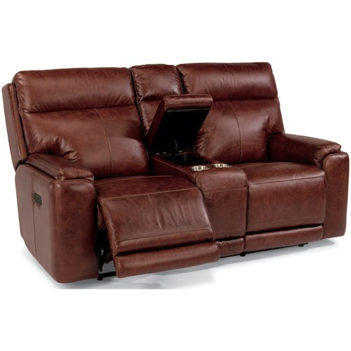 Flexsteel Latitudes-Sienna Power Reclining Love Seat with Console and Power Headrest