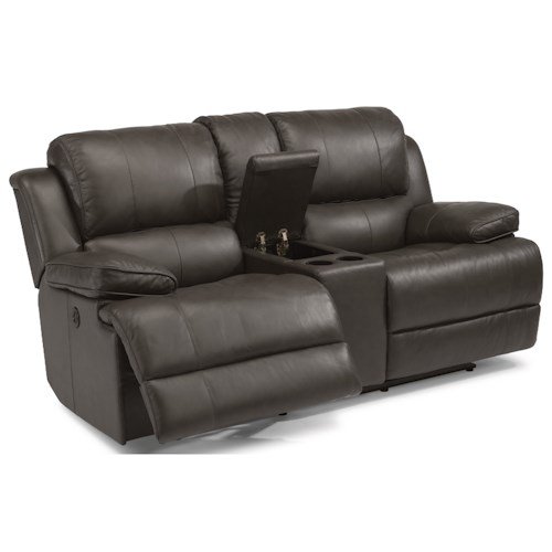 Flexsteel Latitudes-Simon Power Reclining Loveseat with Console, Cupholders and USB Ports