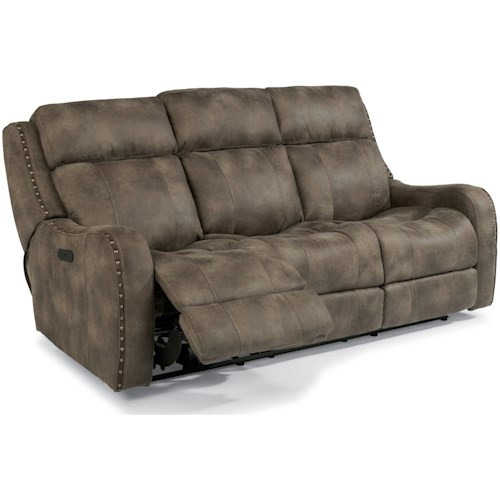 Flexsteel Latitudes-Springfield Power Reclining Lay-Flat Sofa with Adjustable Headrests and USB Charging Ports