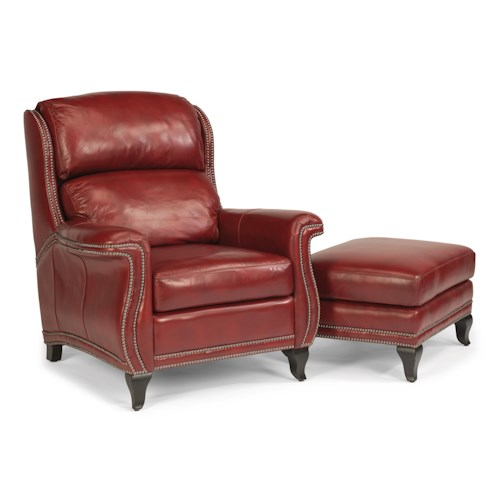 Flexsteel Latitudes-Sting Ray Transitional Chair and Ottoman with Wide-Flared Arms and Nailhead Border