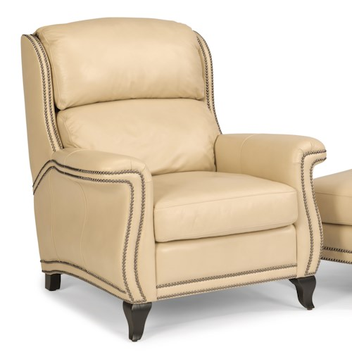 Flexsteel Latitudes-Sting Ray Transitional Chair with Wide-Flared Arms and Nailhead Border