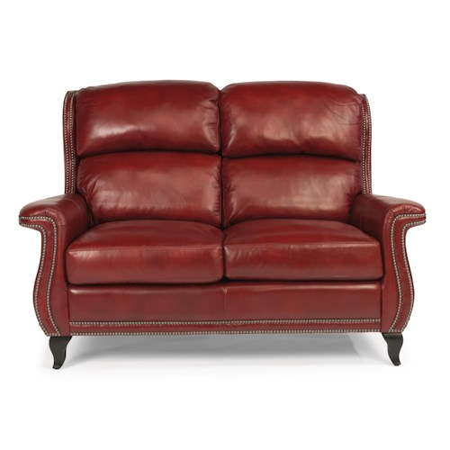 Flexsteel Latitudes-Sting Ray Transitional Loveseat with Wide-Flared Arms and Nailhead Border