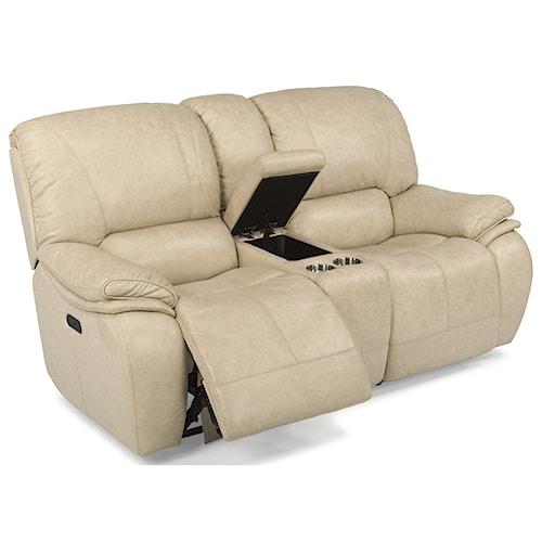 Flexsteel Latitudes-Tobin Power Reclining Love Seat with Power Headrest and Storage Console