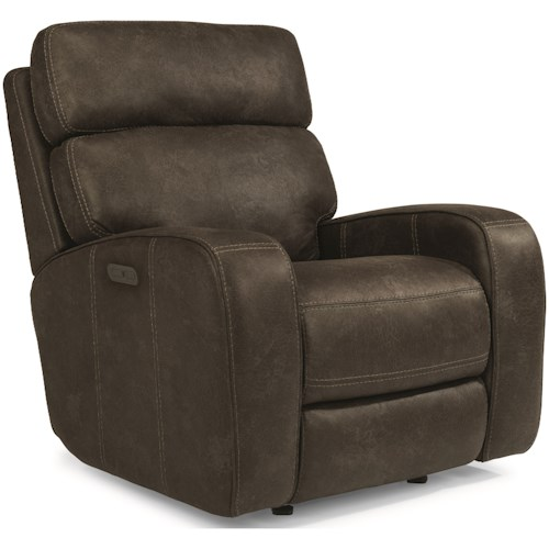 Flexsteel Latitudes-Tomkins Power Gliding Recliner with Power Adjustable Headrests and USB Port