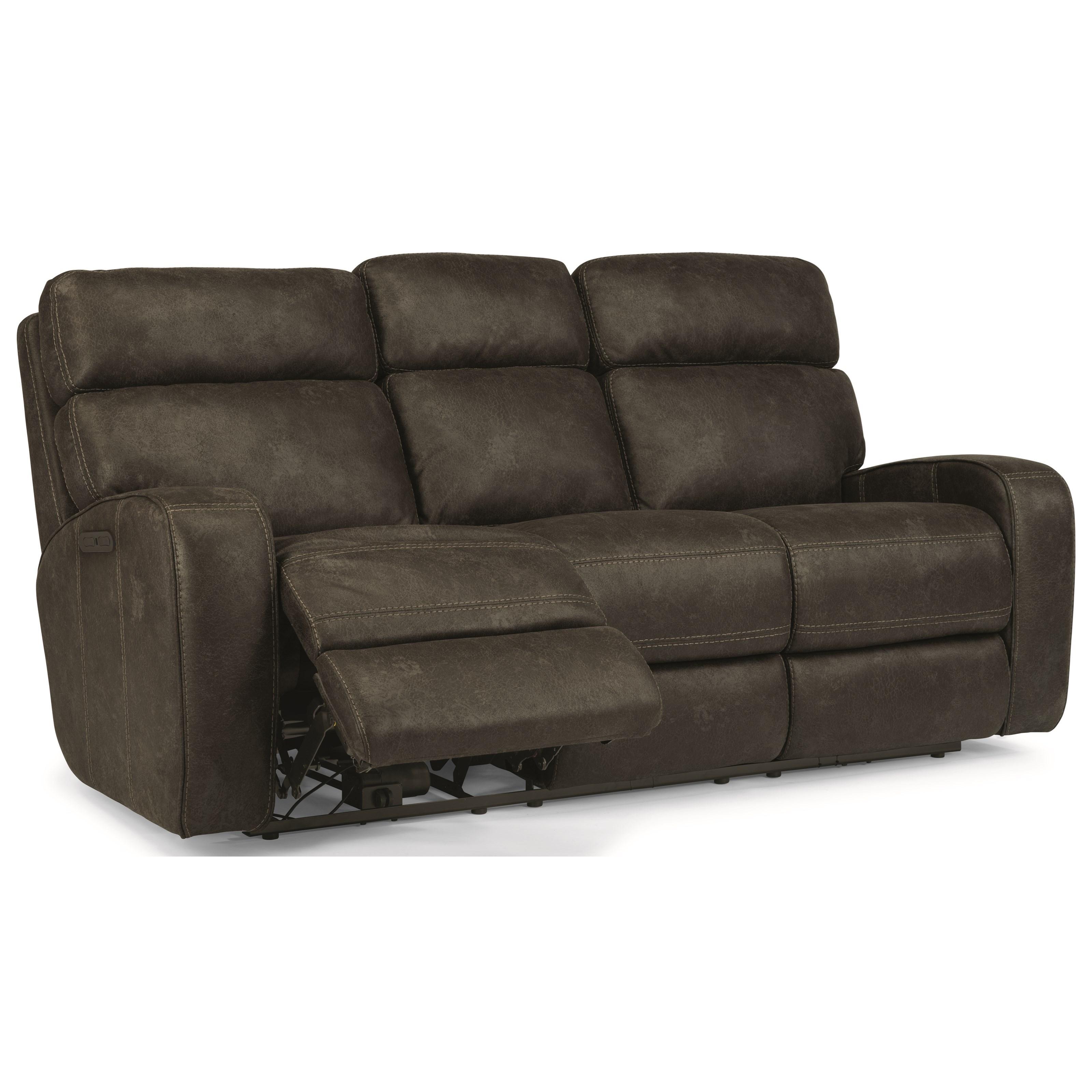 flexsteel power reclining sofa with usb port and power adjustable headrest - Flexsteel Sofas