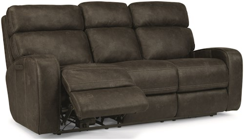 Flexsteel Latitudes-Tomkins Power Reclining Sofa with USB Port and Power Adjustable Headrest