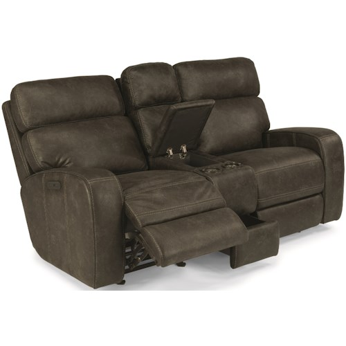 Flexsteel Latitudes-Tomkins Power Gliding Reclining Loveseat with Cupholders and Adjustable Headrests
