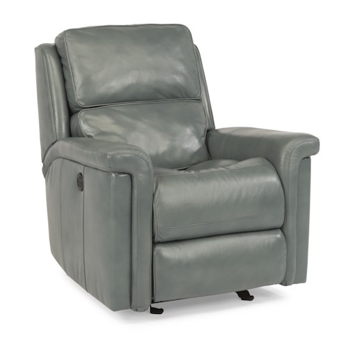 Flexsteel Latitudes-Tosha Modern Power Glider Recliner with Folded Pillow Arms