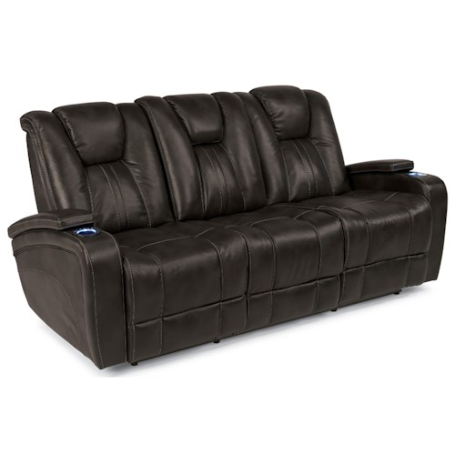 Flexsteel Latitudes-Trinidad Power Adjustable Headrest Reclining Sofa with Light-Up Drop Down Table and Charging Ports