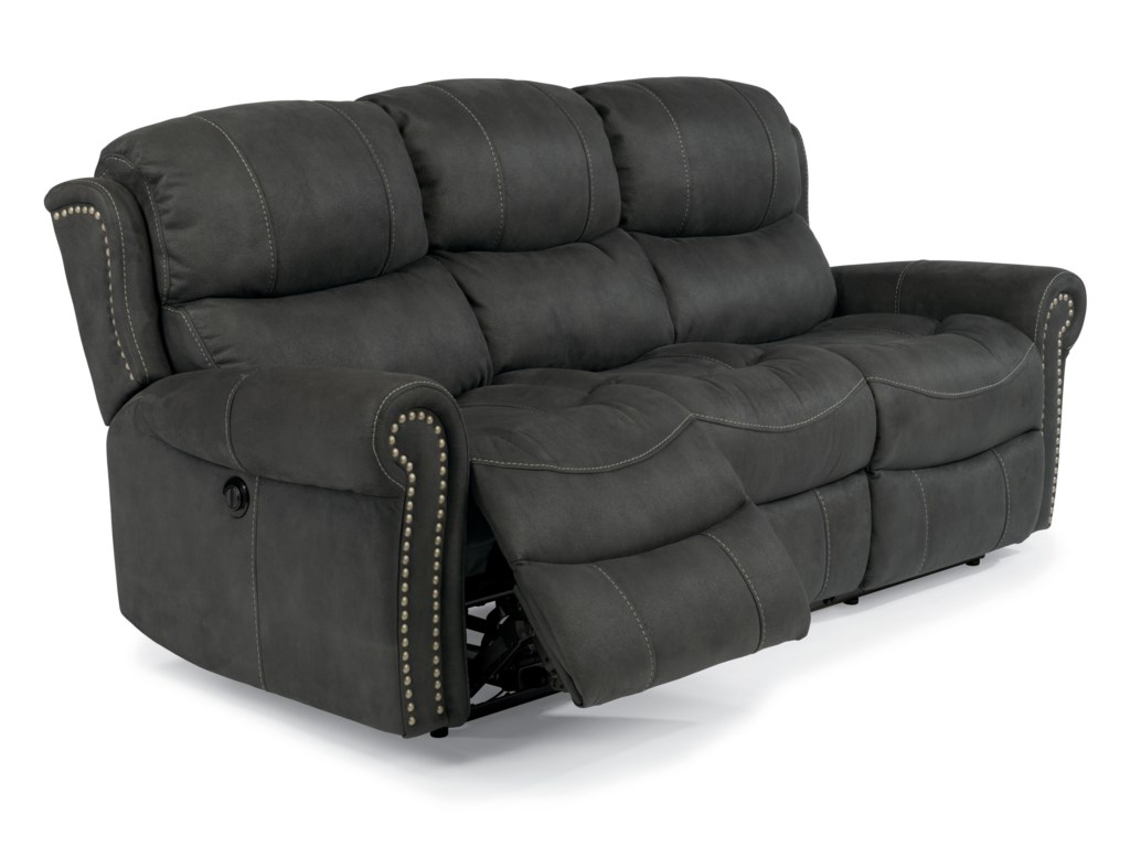 Latitudes Walden Cozy Reclining Sofa With Nail Head Trim By Flexsteel At Dunk Bright Furniture