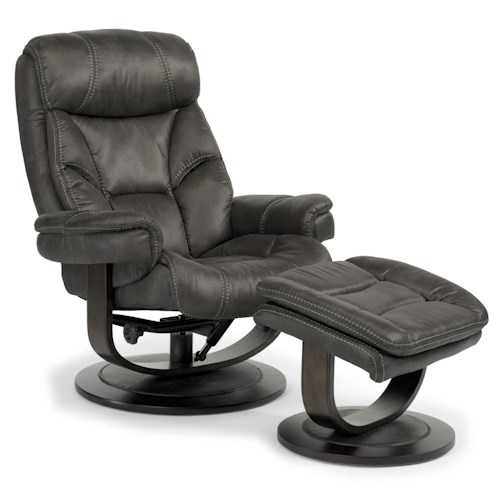 Flexsteel Latitudes-West Modern Zero-Gravity Reclining Chair and Ottoman Set