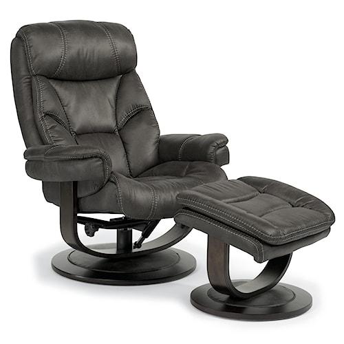Flexsteel Latitudes-West Modern Zero-Gravity Reclining Chair and Ottoman Set