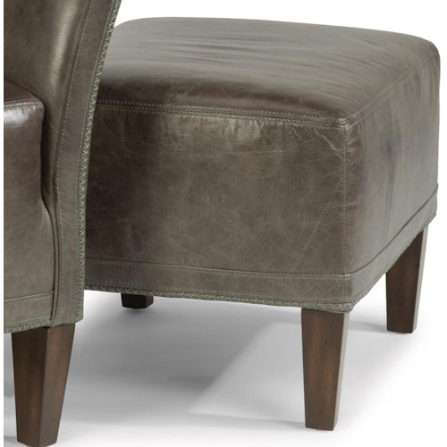 Flexsteel Latitudes - Wheatley Contemporary Leather Ottoman with Tapered Legs