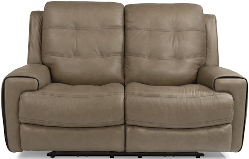 Flexsteel Latitudes-Wicklow Power Lay-Flat Reclining Loveseat with Power Tilt Headrest and USB Ports