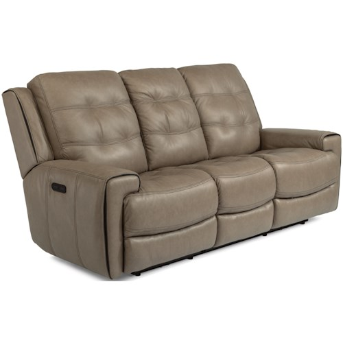 Flexsteel Latitudes-Wicklow Power Reclining Lay-Flat Sofa with Drop-Down Table and Power Tilt Headrest